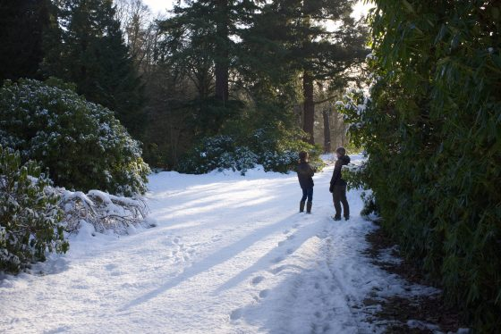 Director Scott Noble and Catherine Maxwell Stuart discuss scene locations in the snow