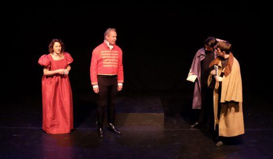 Claudius and Gertrude discuss Hamlet with Rosencrantz and Guildenstern