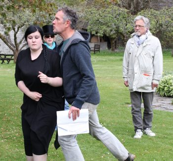 Scott Noble (Leontes) and Leah Moorhouse (Hermione) rehearse at Traquair