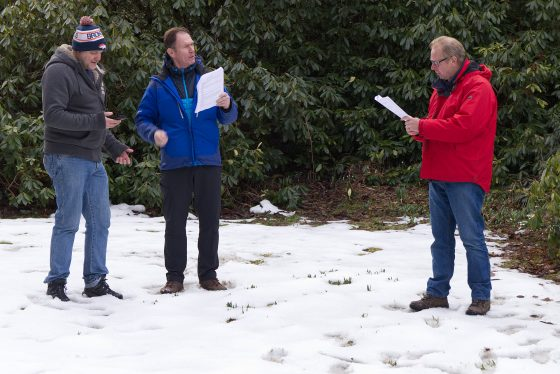 The Watch in the snow rehearsing