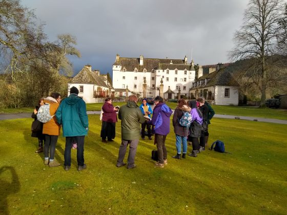 Photograph of Traquair House during the initial visit by the cast